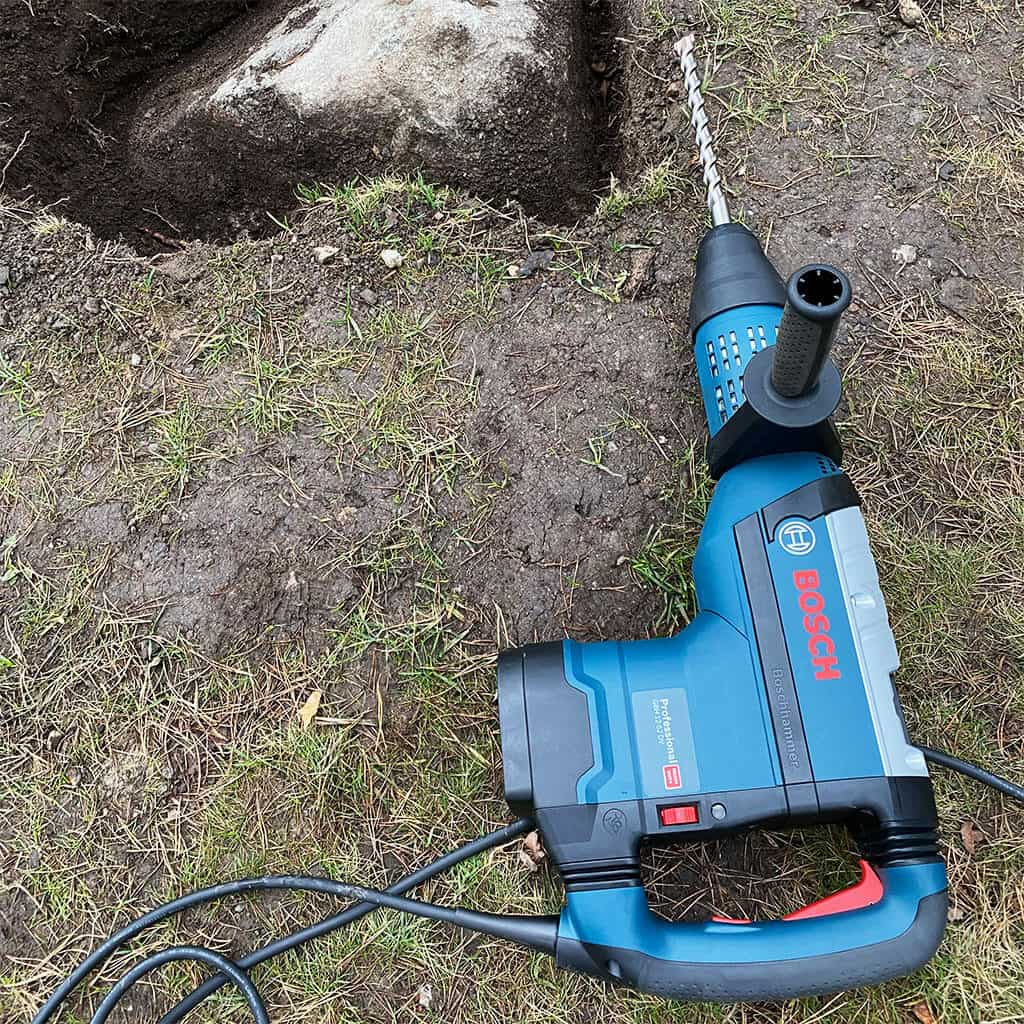 Hammer drill used for stone removal