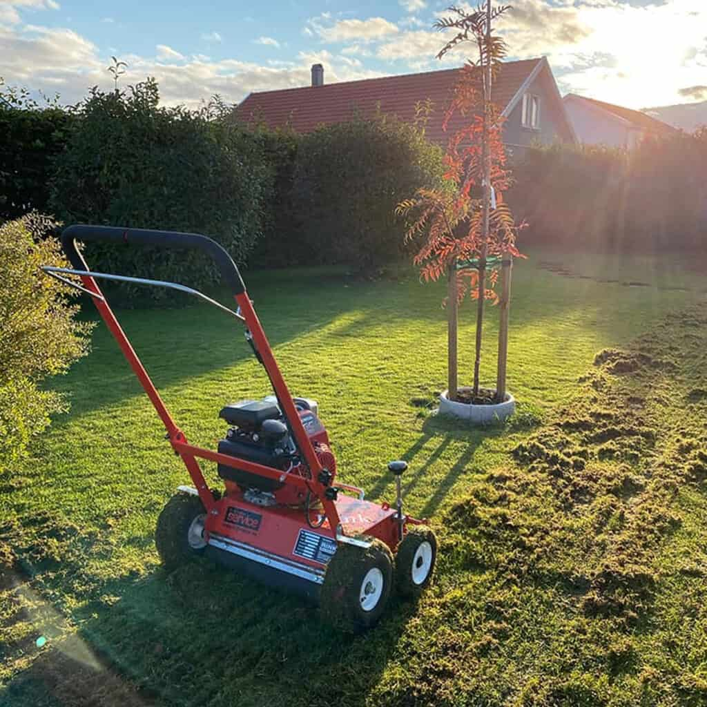 Moss control and aeration with vertical cutting